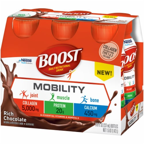 Boost Mobility Rich Chocolate Daily Nutritional Drink 6 Count Perspective: right