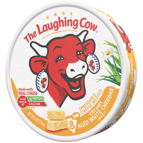 The Laughing Cow Creamy White Cheddar Flavor Spreadable Cheese Wedges Perspective: right