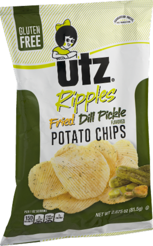 Utz Ripples Fried Dill Pickle Gluten Free Potato Chips Perspective: right