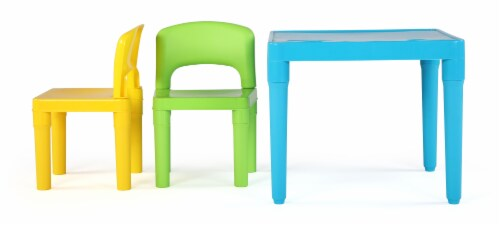 Humble Crew Lightweight Kids Plastic Table & 2 Chair Set 3 Pack - Green/Blue/yellow Perspective: right