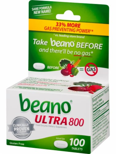 Beano Ultra 800 Food Enzyme Dietary Supplement Tablets 100 Count Perspective: right