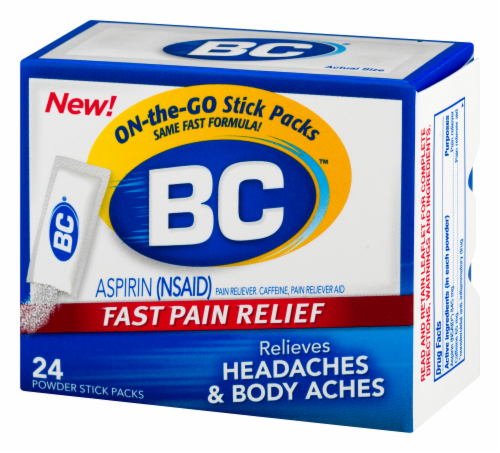 BC Aspirin Headache Fast Pain Relief Powders 24 Count Perspective: right