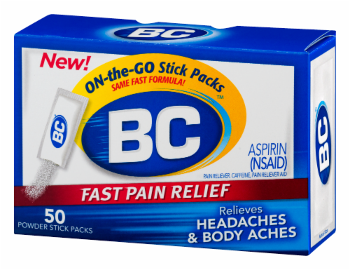 BC Fast Pain Relief Aspirin Powders Perspective: right