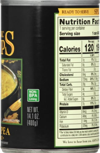 Amy's Organic Low Fat Split Pea Soup Perspective: right