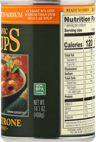 Amy's Organic Light in Sodium Low Fat Minestrone Soup Perspective: right