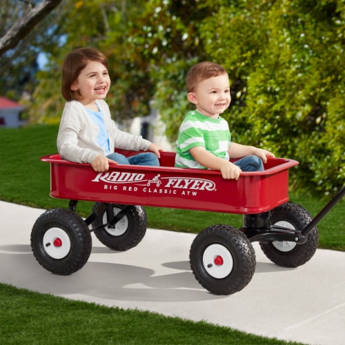Radio Flyer 1800 Big Red Classic Extra Long Handle All Terrain Wheels Kids Wagon Perspective: right