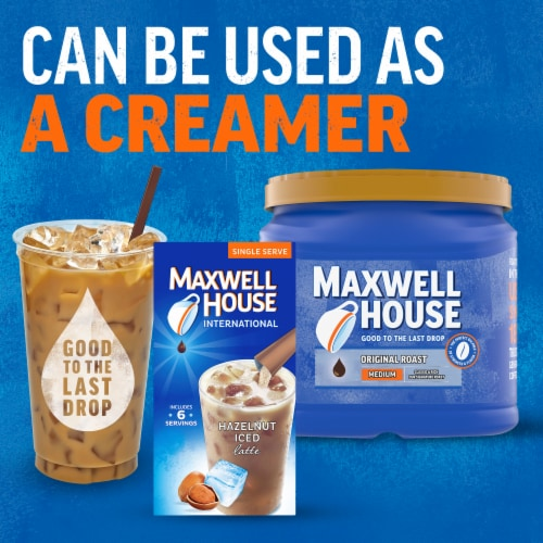 Maxwell House International Hazelnut Iced Latte Café-Style Beverage Mix Perspective: right