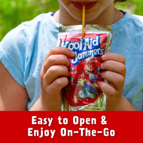 Kool-Aid Jammers Cherry Flavored Drink Pouches Perspective: right