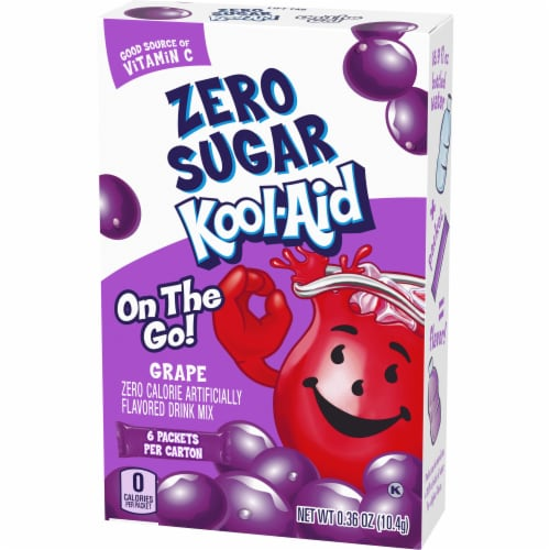 Kool-Aid On-The-Go Sugar-Free Grape Powdered Drink Packets Perspective: right