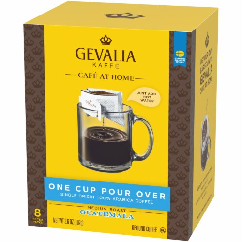 Gevalia One Cup Pour Over Guatamala Ground Coffee Filters Perspective: right