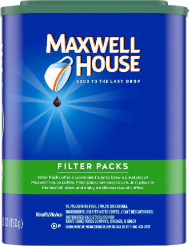 Maxwell House Decaf Original Roast Ground Coffee Filter Packs Perspective: right