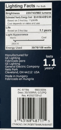 GE Reveal 3-Way Light Bulb Perspective: right