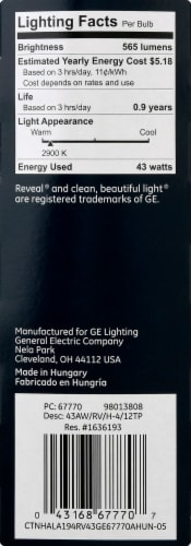 GE Reveal Enhanced Spectrum Halogen Light Bulbs Perspective: right