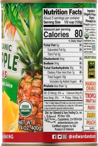 Native Forest Organic Pineapple Chunks Perspective: right