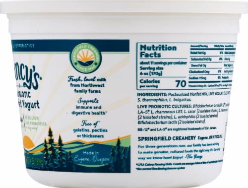 Nancy's Plain Probiotic Nonfat Yogurt Perspective: right