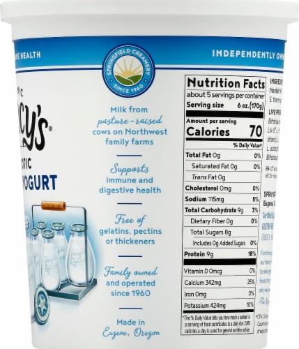 Nancy's Organic Probiotic Nonfat Plain Yogurt Perspective: right