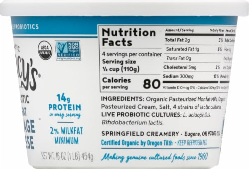 Nancy's Organic Probiotic Lowfat Cottage Cheese Perspective: right
