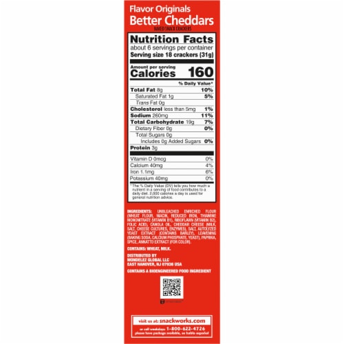 Nabisco Better Cheddars Baked Cheese Snack Crackers Perspective: right