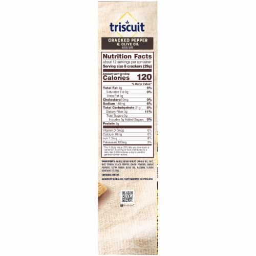 Triscuit Cracked Pepper & Olive Oil Crackers Family Size Perspective: right