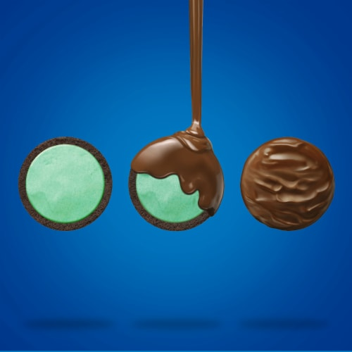 Oreo Fudge Covered Mint Creme Sandwich Cookies Perspective: right