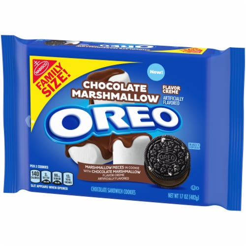 Oreo Chocolate Marshmallow Flavor Creme Chocolate Sandwich Cookies Perspective: right
