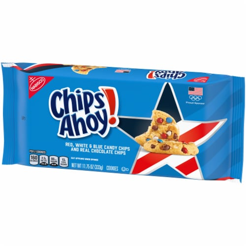 Chips Ahoy! Red White & Blue Candy Chips Chocolate Chip Cookies Perspective: right