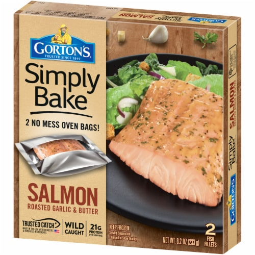 Gorton's Simply Bake Roasted Garlic & Butter Salmon Fillets Perspective: right