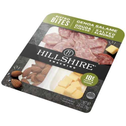 Hillshire Farm Snacking Bistro Bites Genoa Salame Gouda Cheese and Salted Almonds Perspective: right