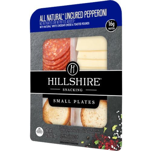 Hillshire Farm Snacking Small Plates All Natural Uncured Pepperoni with Natural White Cheddar Cheese Perspective: right