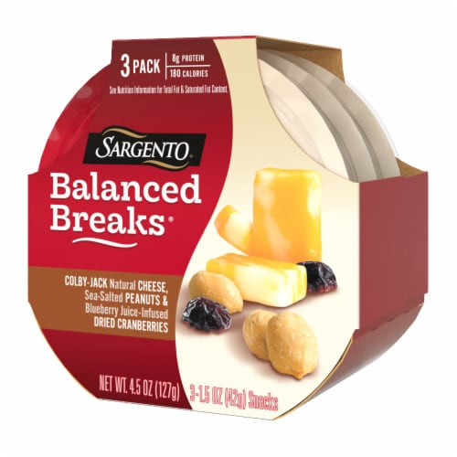 Sargento Balanced Breaks Colby Jack Cheese Peanuts & Dried Cranberries Snack Packs Perspective: right