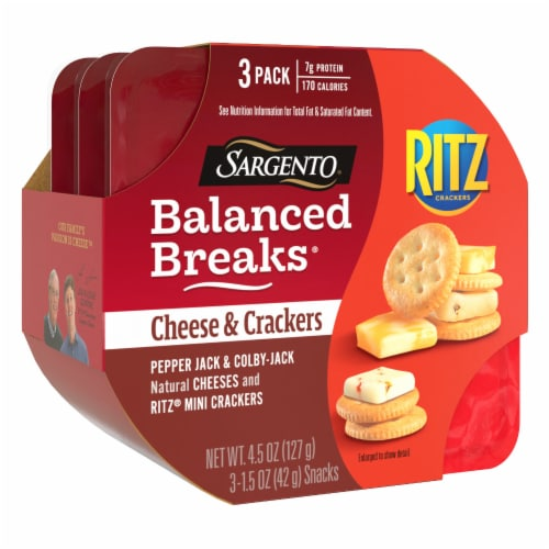 Sargento Balanced Breaks Pepper-Jack and Colby-Jack Cheese with Ritz Original Crackers Perspective: right