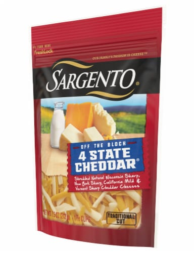 Sargento Off the Block Shredded 4 State Cheddar Cheese Perspective: right