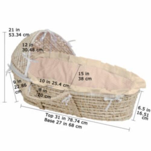 NATURAL Hooded Moses Basket - Ecru/Beige Gingham Bedding Perspective: right