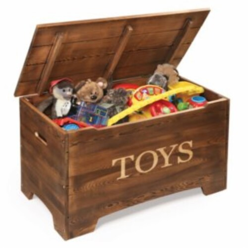 Solid Wood Rustic Toy Box - Caramel Brown Perspective: right