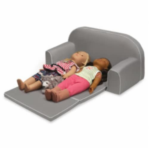 Upholstered Doll Sofa with Foldout Bed and Storage Pockets - Executive Gray Perspective: right