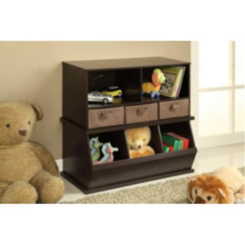 Shelf Storage Cubby w/Three Baskets - Espresso Perspective: right