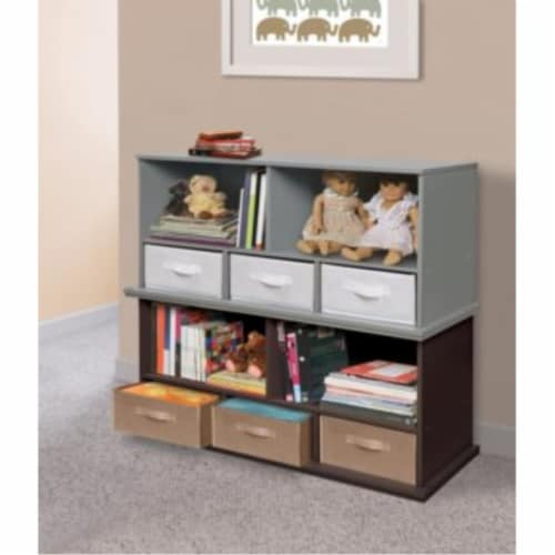 Shelf Storage Cubby with Three Baskets - Gray Perspective: right
