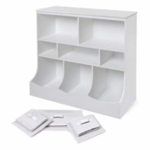 Combo Bin Storage Unit w/3 Baskets - White Perspective: right