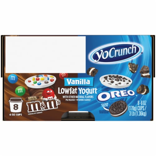 YoCrunch Cookies 'n Cream Oreo & M&Ms Vanilla Yogurt Cups Perspective: right