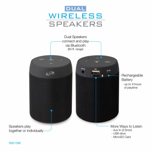iLive Portable Bluetooth Speaker 2 Pack Perspective: right