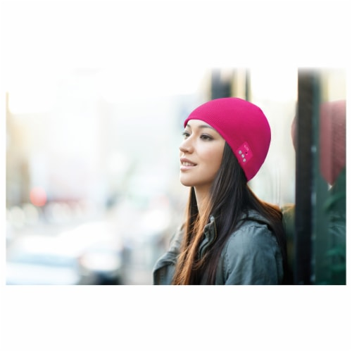 iLive  Wireless Music Bluetooth Knit Beanie - Pink Perspective: right