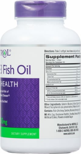Natrol Omega-3 Fish Oil 1000mg Heart Health Supplement Perspective: right