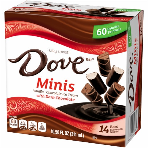 DOVE Minis Ice Cream Bars Variety Mix Vanilla and Chocolate Ice Cream with Dark Chocolate Perspective: right