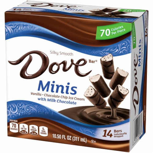 DOVE Minis Ice Cream Bars Variety Mix Vanilla and Chocolate Chip Ice Cream with Milk Chocolate Perspective: right