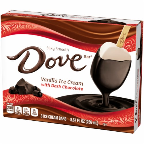 Dove Chocolate Vanilla Ice Cream with Dark Chocolate Bars Perspective: right