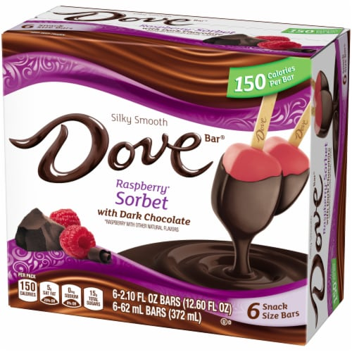 DOVEBAR Raspberry Sorbet wWith Dark Chocolate Snack Size Bars Perspective: right