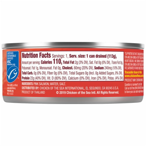 Chicken of the Sea Skinless Boneless Canned Pink Salmon Perspective: right