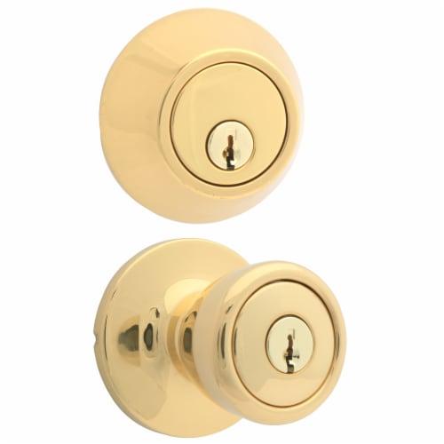 Atlas Polished Brass Tulip Door Knob Lock Combo Kit Perspective: right