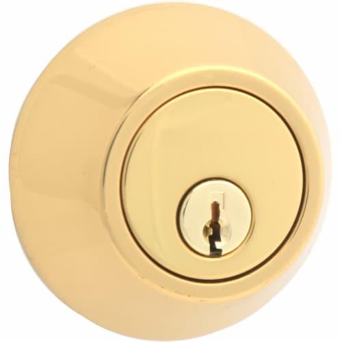 Atlas Polished Brass Single Cylinder Deadbolt Perspective: right