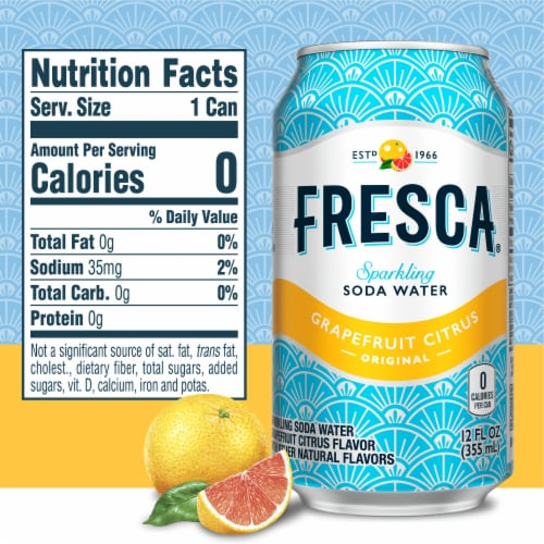 Fresca Grapefruit Citrus Sparkling Soda Water Fridge Pack Perspective: right